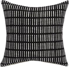 the illusionist.  Black lines or white rectangles? Geometric grid forms fun optical illusion with subtle asymmetry.  Featuring flocked black lines, Brooklyn-based designer Aelfie Oudghiri's 100% cotton pillow reverses to solid white.  Do the math: CB2 low prices include a pillow insert in your choice of plush feather-down or lofty down-alternative (a rare thing indeed).  Learn about Aelfie Oudghiri on our blog.
