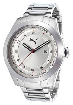 Puma PU103301006 Watches,Men's Motosport Stainless Steel Silver-Tone Dial, Sport Puma Quartz Watches