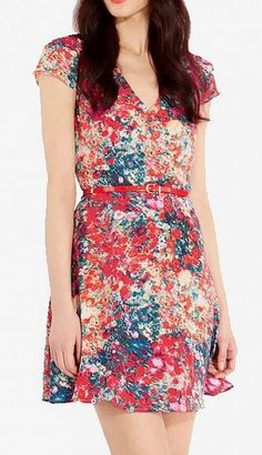 Red V-neck Short Sleeve Rayon Floral Dress