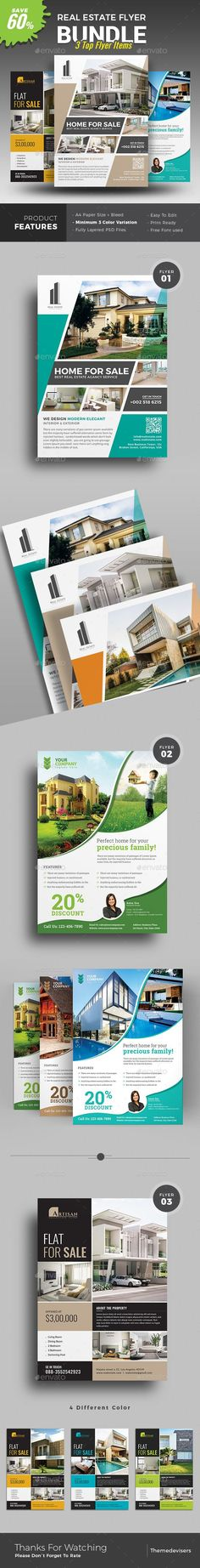 Real Estate Flyer | You can use it for real estate listings, interior business, advertising homes or property for sale or houses for rent. Fully editable templates, you can add images of your choice and change the texts