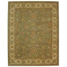 Safavieh Hand-made Antiquity Green/ Gold Wool Rug (11' x 15')