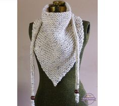 Hand Knit Triangle Scarf Neutral Oatmeal or YOUR by BoPeepsBonnets