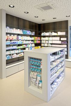 HPL in your individual shop fitting project! Thanks to its excellent properties and functionalities, Argolite can be used variably for wall coverings, work surfaces or service counters. In this pharmacy, the architect used Argolite natural fibre 910 AM for the wall coverings   Architect: Walker Architekten AG, Brugg, Switzerland   #architecture #interiordesign #storeconstruction #ArgoliteHPL #design #naturalfibre Service Counter, Information Board, Pharmacy Design, Shop Fittings, Work Surface, Planer, Switzerland, Liquor Cabinet, Construction