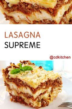 Made with lasagna noodles, Parmesan cheese, ground beef, onion, garlic, olive oil, crushed tomatoes, tomato paste, water, parsley, basil, oregano, salt and pepper, ricotta cheese, Mozzarella cheese | CDKitchen.com