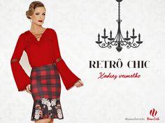 Inverno Retrô Chic da Base Café reserva looks que fizeram sucesso, como esse xadrez vermelho.