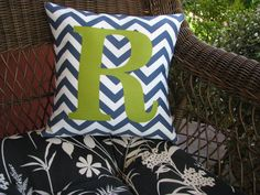 Personalized initial chevron pattern pillow