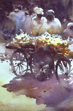 "Robert Wade, Sketch ""Banana Men"" Agra India 10""x 6"" 1987"
