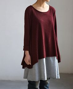 layered long dress wine red blue by MaLieb on Etsy, $82.00
