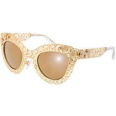 D&G Antique Golden Filgree Cat-Eye Sunglasses