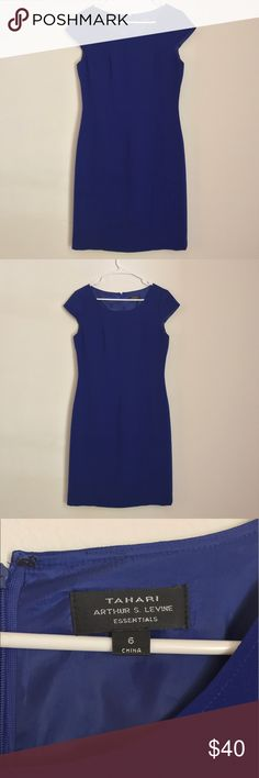 Tahari dress Elegant Dark blue tahari dress size 6 in good conditions. Flaw: has small white stain as seen on picture, needs to be taken to dry cleaners. Tahari Dresses Midi