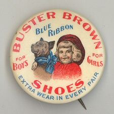 Buster Brown Shoes Pinback button giveaway
