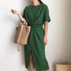 Sweet Little Sunday - Summer Vintage Linen Dress - Brown