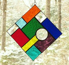 Stained Glass Suncatcher  Abstract Multi-colored with Clear
