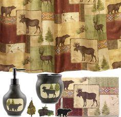 Cabin Accessories | ... Moose and Bear 5 Piece Bath Set, cabin decor shower curtain rug