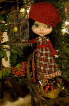 Noel. Plaid Holiday Dress Crocheted Hat Arm by SugarMountainArt