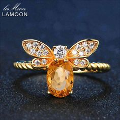 LAMOON Sterling Silver Adjustable Bee Ring