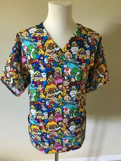 4bc4d83d215 Private listing for jared Nintendo scrub top - only 2 left and its Gone!!!-  donkey Kong Mario brothers luigi video game medical scrub top