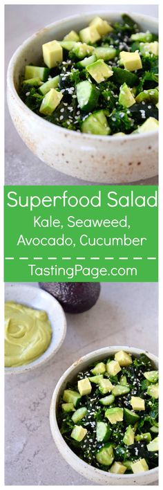 Green Superfood Salad - kale, seaweed, avocado & cucumber come together in this nutritious, vitamin packed salad that's gluten free and vegan | TastingPage.com
