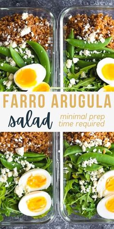 This farro arugula salad is a delicious vegetarian meal prep recipe! With snap peas, feta cheese, egg and a tangy vinaigrette, it is filling and delicious! #sweetpeasandsaffron #mealprep #salad #vegetarian Vegetarian Meal Prep, Tasty Vegetarian Recipes, Veggie Recipes, Salad Recipes, Easy Appetizer Recipes, Delicious Dinner Recipes, Appetizers, White Wine Vinaigrette Recipe, Saffron Recipes