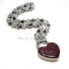 Wine and Cream Pearl Chainmail Day Collar Sparkly Burgundy Heart Lock | BrainofJen - Jewelry on ArtFire