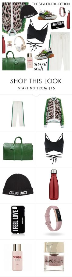 """""""Sweat Sesh: Gym Style"""" by sproetje ❤ liked on Polyvore featuring Roberto Cavalli, Louis Vuitton, Bodyism, Chiara Ferragni, Givenchy, Fitbit, Jean-Paul Gaultier, Smith & Cult, STELLA McCARTNEY and gymstyle"""