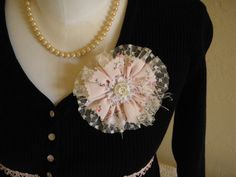 Vintage fabrics, trims  tulle handmade pin brooch!  Custom order.