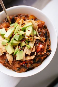 Butternut Squash Chipotle Chili with Avocado #vegan #restaurant #reviews