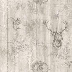 Holden Decor Stag Wood Panel Beige Wallpaper 90091