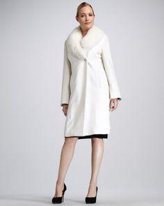 Fur-Collar Felt Coat by Sofia Cashmere at Neiman Marcus.