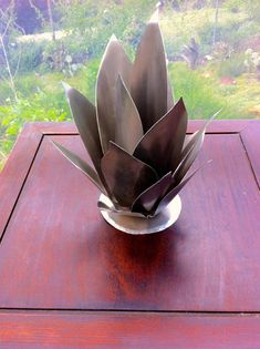 Baby Agave Raw Steel  Metal Yard Art by TopangaPatina on Etsy