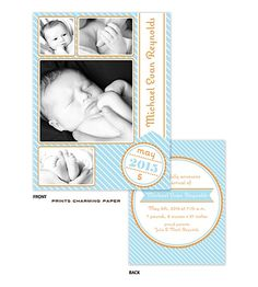 Prints Charming Paper Photo Frames on Blue Diagonal Stripes Sweet Petite Digital Photo Birth Announcement