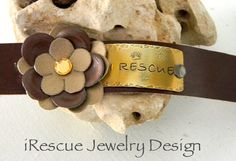 Brown Leather Cuff Leather Flower Hand by iRescueJewelryDesign, $25.00