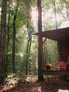fall morn at the cabin. My idea of total bliss, dappled sunlight, cabin in the woods, Fall air. Outdoor Spaces, Outdoor Living, Outdoor Kitchens, Foto Nature, Cabin In The Woods, Little Cabin, Cabins And Cottages, Log Cabins, Cozy Cabin