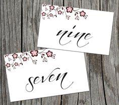 Pink and Brown Flower Script font DIY table numbers. Print from home.