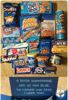 """DIY Gifts Box - Some great """"blue"""" foods for a blue-themed care package. Cute Birthday Gift, Birthday Gifts For Best Friend, Diy Birthday, Best Friend Gifts, Blue Birthday, Cute Boyfriend Gifts, Boyfriend Gift Basket, Bf Gifts, Boyfriend Care Package"""