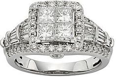 jcpenney FINE JEWELRY 11⁄2 CT. T.W. Diamond 10K White Gold Quad Princess Ring on shopstyle.com