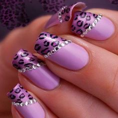 Image via Soft pink and glitter leopard print nail art inspired by the lovely. Image via Leopard nails by vintagemaddness. Image via Leopard nails image Image via Leopard Nail Art Violet, Purple Nail Art, Purple Wedding Nails, Purple Makeup, Fancy Nails, Cute Nails, Pretty Nails, Fabulous Nails, Gorgeous Nails