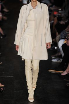 Loving this Victoria Beckham runway look, layers of ivory and cream