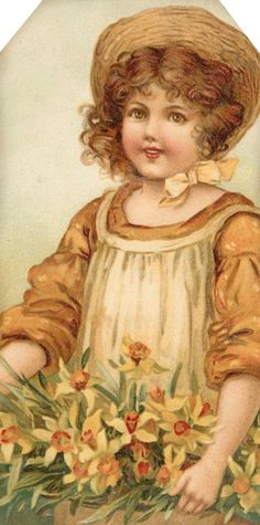 1907 Flower Maidens ~ girl with daffodils ~ tag