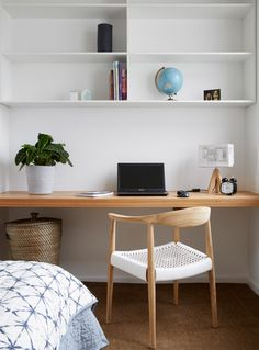 Beautiful study space - simple and clean lines. Also, check out the amazing custom lampshade by Patturn Studio printed with the floor plan of the house! Trentham Modern Farmhouse by Glow Building Design (via Lunchbox Architect) Home Office Bedroom, Office Nook, Bedroom Desk, Home Office Design, Bedroom Lamps, Wall Lamps, Master Bedroom, Bedroom Lighting, Study Nook