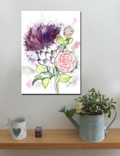 Scottish Thistle and Camellia http://www.splashyartystory.com/shop/art-prints/thistle-and-camellia-art-print-of-painting-scotlandalabama/