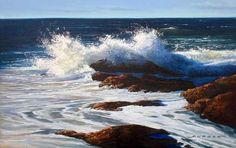 ocean surf, oil painting tutorial, free demonstration online