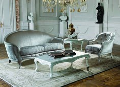 CLAUDE 3 seater sofa and armchair Covering as seen : Structure : Fabric art. Luci col.11 cat. Mn. Seat : Fabric art. Primavera col. Avorio cat. Mn. Finishing : cod. 335 - Pearl. www.mantellassi.com