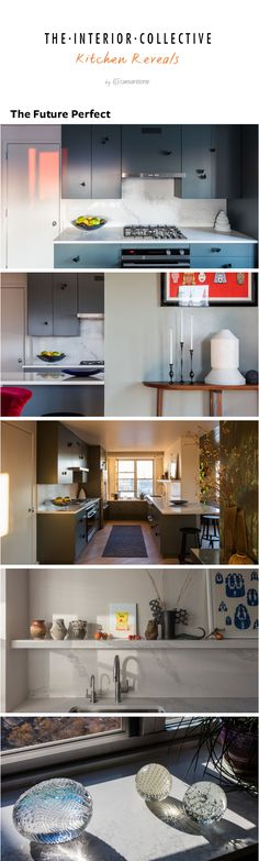 David Alhadeff of The Future Perfect created a kitchen design inspired by butterfly pulls. With the help of Caesarstone Statuario Maximus as the countertop, backsplash, and hanging shelf, his dream came to life. See the kitchen reveal here!
