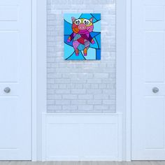 Canvas of the Pig by Decoludik on Etsy Nursery Canvas, My Canvas, Canvas Prints, Art Prints, Art Wall Kids, Art For Kids, Wall Art, Corrugated Carton, Cotton Canvas