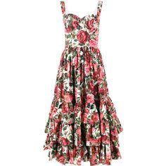 Dolce & Gabbana sleeveless rose print dress (9.310 BRL) ❤ liked on Polyvore featuring dresses, pink, peplum dress, sleeveless cotton dress, pink sweetheart dress, zip back dress and sleeveless peplum dress