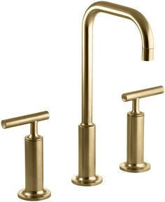 Superieur Purist Widespread Bathroom Sink Faucet With High Lever Handles And High  Gooseneck Spout