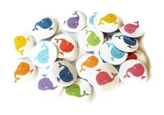 Whale Buttons Set of 24 Pinback Buttons Rainbow by GandGButtons