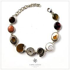 Talisman Bracelet Matrix Opal, Ammonite, Gemstone Bracelets, Pink Tourmaline, Shells, Quartz, Gemstones, Sterling Silver, Jewelry