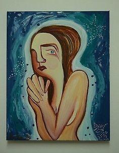 DALIA BAREKET SIGNED ORIGINAL NUDE ISRAEL ART PAINTING - THE PRAYING WOMAN